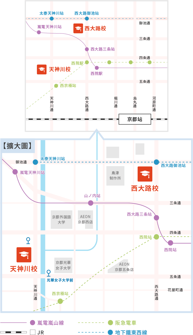 天神川校、西大路校地圖