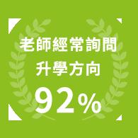 老師經常詢問升學方向 92%