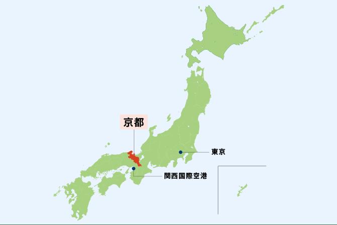京都の位置を示す日本地図