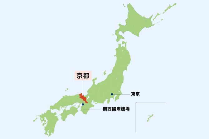 日本地圖,顯示京都的位置